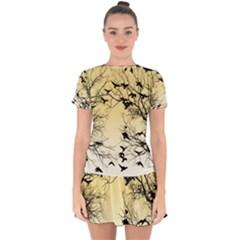 Crow Flock  Drop Hem Mini Chiffon Dress by Valentinaart