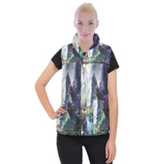 Fantastic World Fantasy Painting Women s Button Up Puffer Vest by BangZart
