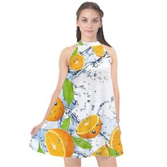Fruits Water Vegetables Food Halter Neckline Chiffon Dress  by BangZart