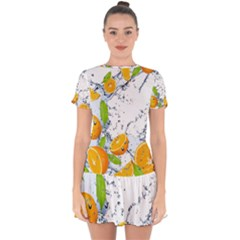 Fruits Water Vegetables Food Drop Hem Mini Chiffon Dress by BangZart