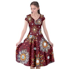 India Traditional Fabric Cap Sleeve Wrap Front Dress