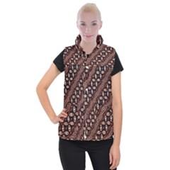 Art Traditional Batik Pattern Women s Button Up Puffer Vest by BangZart