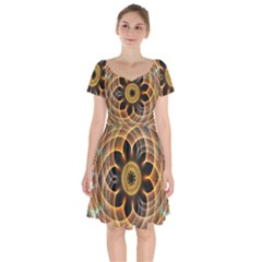 Mixed Chaos Flower Colorful Fractal Short Sleeve Bardot Dress