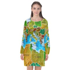 World Map Long Sleeve Chiffon Shift Dress  by BangZart