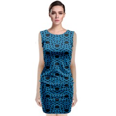 Triangle Knot Blue And Black Fabric Classic Sleeveless Midi Dress by BangZart