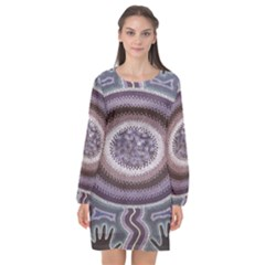 Spirit Of The Child Australian Aboriginal Art Long Sleeve Chiffon Shift Dress  by BangZart