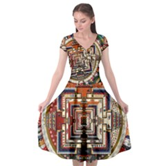 Colorful Mandala Cap Sleeve Wrap Front Dress by BangZart