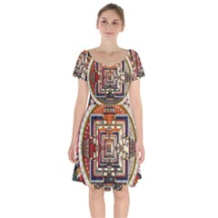 Colorful Mandala Short Sleeve Bardot Dress by BangZart