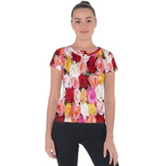 Rose Color Beautiful Flowers Short Sleeve Sports Top  by BangZart