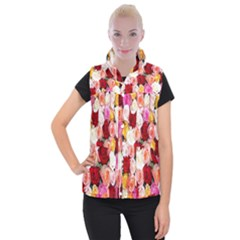 Rose Color Beautiful Flowers Women s Button Up Puffer Vest by BangZart