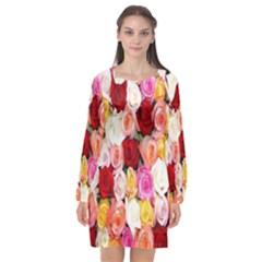 Rose Color Beautiful Flowers Long Sleeve Chiffon Shift Dress