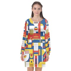 Hide And Seek Long Sleeve Chiffon Shift Dress  by BangZart