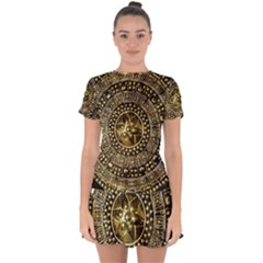 Gold Roman Shield Costume Drop Hem Mini Chiffon Dress by BangZart