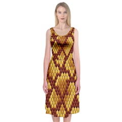 Snake Skin Pattern Vector Midi Sleeveless Dress