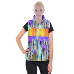 New York City The Statue Of Liberty Women s Button Up Puffer Vest
