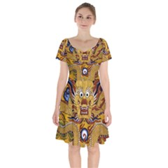 Chinese Dragon Pattern Short Sleeve Bardot Dress by BangZart