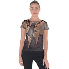 Grunge Map Of Earth Short Sleeve Sports Top  by BangZart