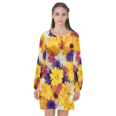 Colorful Flowers Pattern Long Sleeve Chiffon Shift Dress  by BangZart