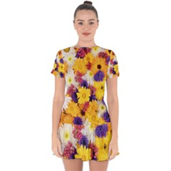 Colorful Flowers Pattern Drop Hem Mini Chiffon Dress by BangZart