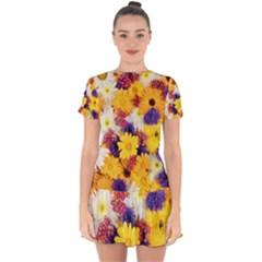 Colorful Flowers Pattern Drop Hem Mini Chiffon Dress by BangZart