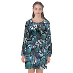 Old Spiderwebs On An Abstract Glass Long Sleeve Chiffon Shift Dress  by BangZart