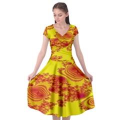 Floral Fractal Pattern Cap Sleeve Wrap Front Dress