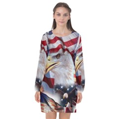 United States Of America Images Independence Day Long Sleeve Chiffon Shift Dress  by BangZart