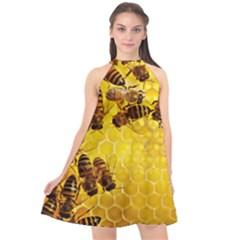 Honey Honeycomb Halter Neckline Chiffon Dress  by BangZart