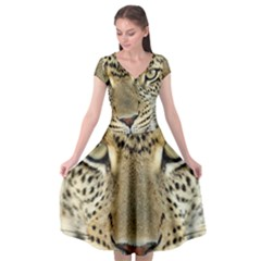 Leopard Face Cap Sleeve Wrap Front Dress