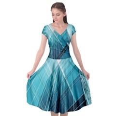 Glass Bulding Cap Sleeve Wrap Front Dress by BangZart