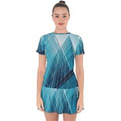 Glass Bulding Drop Hem Mini Chiffon Dress