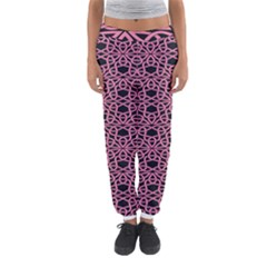 Triangle Knot Pink And Black Fabric Women s Jogger Sweatpants by BangZart