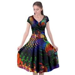 Colored Fractal Cap Sleeve Wrap Front Dress by BangZart