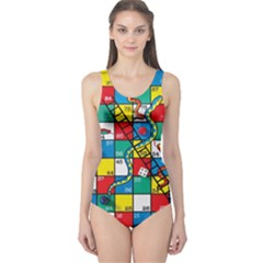 Snakes And Ladders One Piece Swimsuit by BangZart