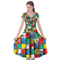 Snakes And Ladders Cap Sleeve Wrap Front Dress by BangZart
