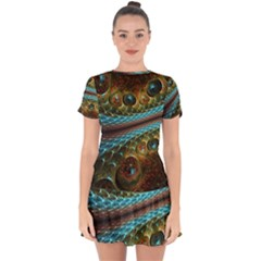 Fractal Snake Skin Drop Hem Mini Chiffon Dress by BangZart