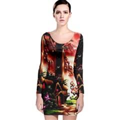Fantasy Art Story Lodge Girl Rabbits Flowers Long Sleeve Velvet Bodycon Dress by BangZart