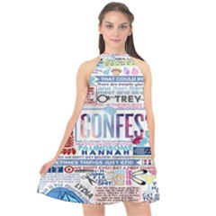 Book Collage Based On Confess Halter Neckline Chiffon Dress  by BangZart