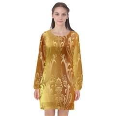 Golden Pattern Vintage Gradient Vector Long Sleeve Chiffon Shift Dress