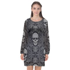 Dark Horror Skulls Pattern Long Sleeve Chiffon Shift Dress  by BangZart