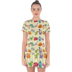 Group Of Funny Dinosaurs Graphic Drop Hem Mini Chiffon Dress by BangZart