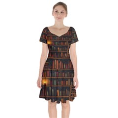 Books Library Short Sleeve Bardot Dress by BangZart