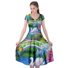 Swan Bird Spring Flowers Trees Lake Pond Landscape Original Aceo Painting Art Cap Sleeve Wrap Front Dress by BangZart