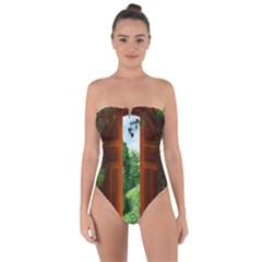 Beautiful World Entry Door Fantasy Tie Back One Piece Swimsuit by BangZart