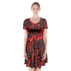 Volcanic Textures  Short Sleeve V Neck Flare Dress by BangZart