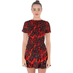 Volcanic Textures  Drop Hem Mini Chiffon Dress
