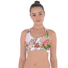 Flora Butterfly Roses Cross String Back Sports Bra by BangZart