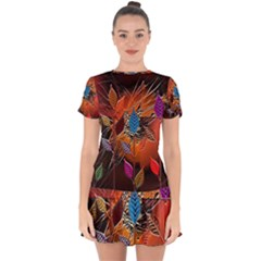 Colorful Leaves Drop Hem Mini Chiffon Dress by BangZart