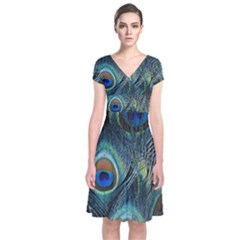 Feathers Art Peacock Sheets Patterns Short Sleeve Front Wrap Dress by BangZart