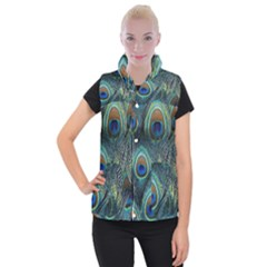 Feathers Art Peacock Sheets Patterns Women s Button Up Puffer Vest by BangZart